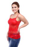 TeeMoods Basic Spaghetti Strap Sheer Red Lace Camisole-3