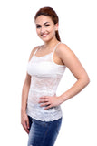 TeeMoods Basic Spaghetti Strap Sheer Lace White Camisole-3