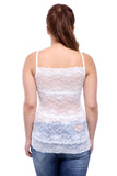 TeeMoods Basic Spaghetti Strap Sheer Lace White Camisole -2
