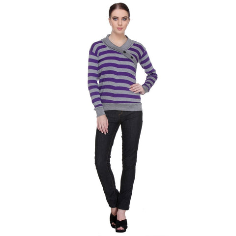 TeeMoods Full Sleeves Striped V-Neck Purple Top