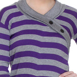TeeMoods Full Sleeves Striped V-Neck Purple Top-5