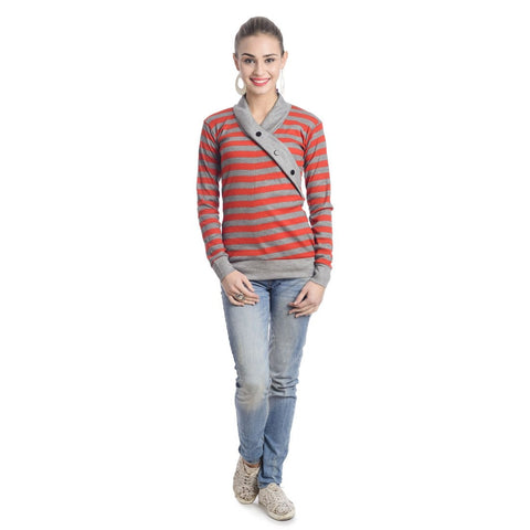 TeeMoods Full Sleeves Striped V-Neck Red Top