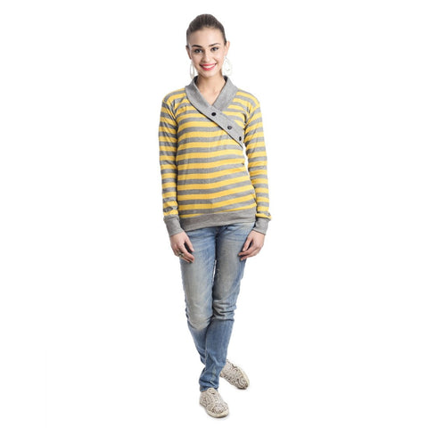 TeeMoods Full Sleeves Striped V-Neck Yellow Top