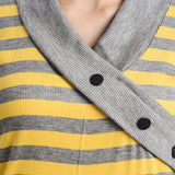 TeeMoods Full Sleeves Striped V-Neck Yellow Top-5