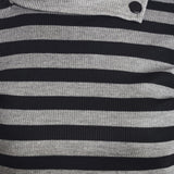 Full Sleeves Striped Turtle Neck Black Top