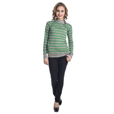 Full Sleeves Striped Turtle Neck Green Top