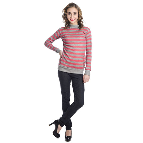 TeeMoods Full Sleeves Striped Turtle Neck Pink Top