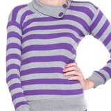 Full Sleeves Striped Turtle Neck Purple Top