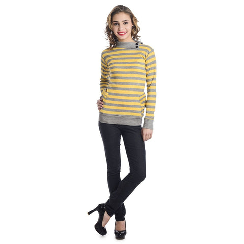 TeeMoods Full Sleeves Striped Turtle Neck Yellow Top