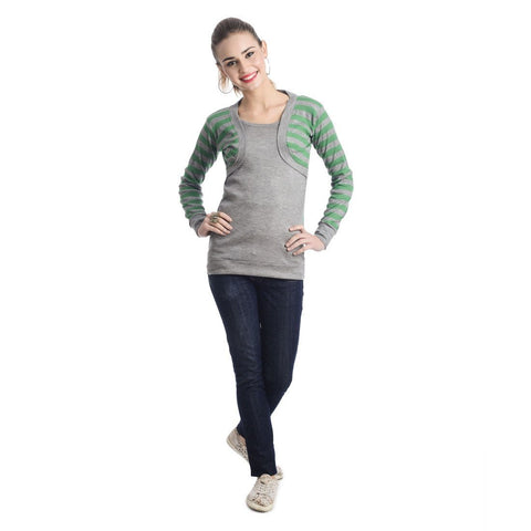 TeeMoods Full Sleeves Striped Round Neck Green Top
