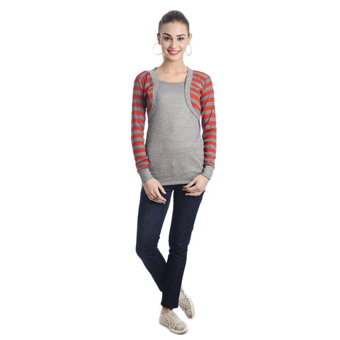 TeeMoods Full Sleeves Striped Round Neck Red Top