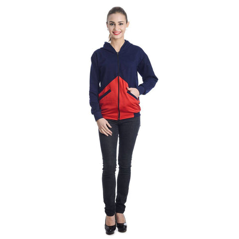 Womens Colorblock Navy & Red Sweatshirt