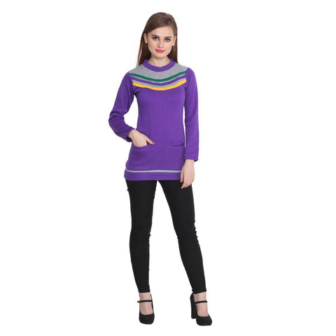 TeeMoods Womens Purple Long Sweater Top
