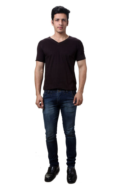 TeeMoods Choco Brown V Neck Mens T-shirt
