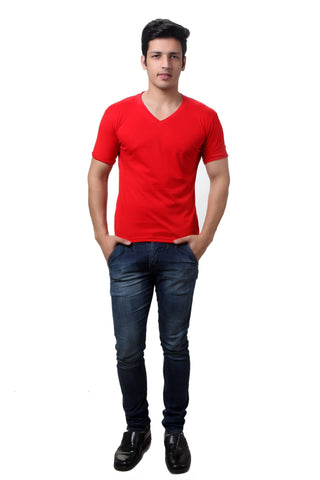 TeeMoods Red V Neck Mens T-shirt