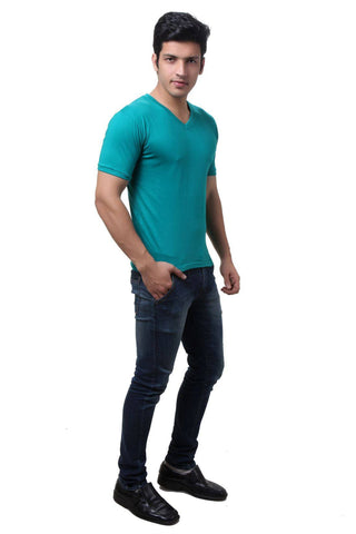 TeeMoods Sea Green V Neck Mens T-shirt
