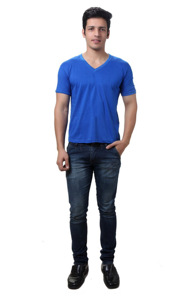 TeeMoods Blue V Neck Mens T-shirt
