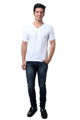 TeeMoods White V Neck Mens T-shirt