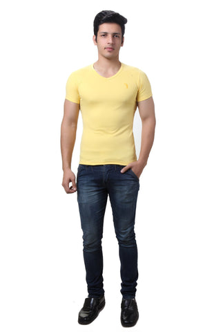 TeeMoods Yellow V Neck Mens T-shirt