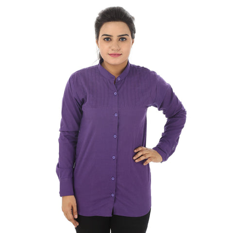TeeMoods Solid Casual Purple Cotton Women's Shirt-Front