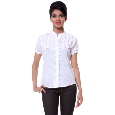 TeeMoods Solid White Cotton Womens Shirt with Frills-Front
