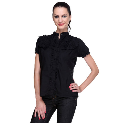Short Sleeves Black Cotton Shirt with Frills-1