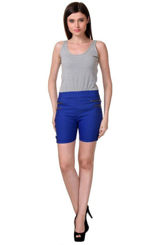 TeeMoods Women's Blue Type_Shortsin Cotton Lycra