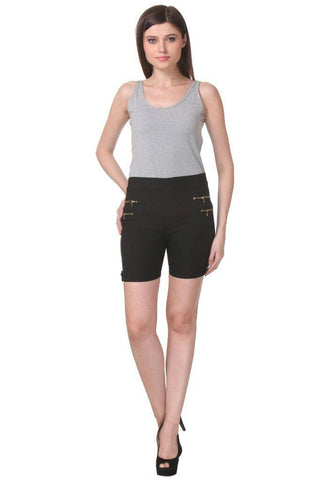 TeeMoods Women's Black Type_Shortsin Cotton Lycra
