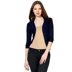 Womens Navy Shrug with 3/4th Sleeve