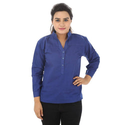 TeeMoods Cotton Blue Women's Shirt-Front