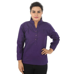 TeeMoods Cotton Purple Women's Shirt-Front