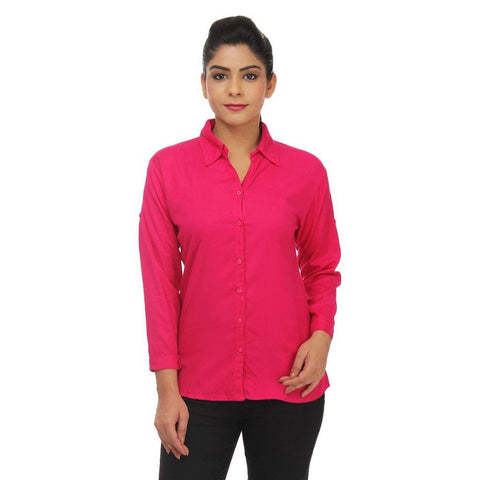 TeeMoods Women's Casual Solid Dark Pink Shirt