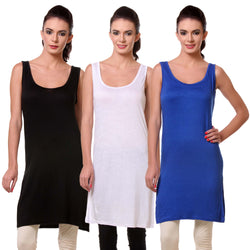 TeeMoods Women's Chemise Full Slips- Pack of Three-Black, White and Blue