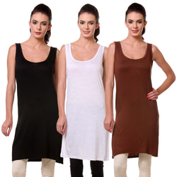 TeeMoods Women's Chemise Full Slip- Pack of Three-Black, White and Brown