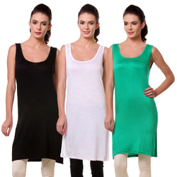 TeeMoods Womens Chemise Full Slip- Pack of Three-Black, White and Green