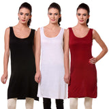 TeeMoods Womens Chemise Full Slip- Pack of Three-Black, White and Maroon