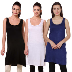 TeeMoods Womens Chemise Full Slip- Pack of Three-Black, White and Navy