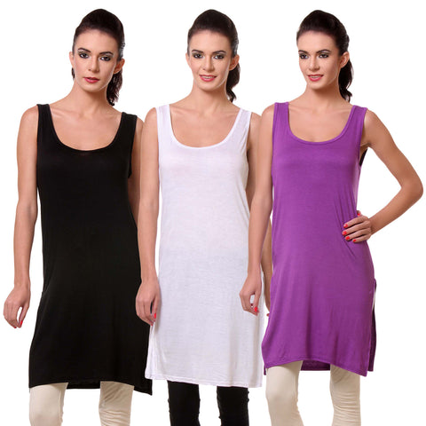 TeeMoods Womens Chemise Full Slip- Pack of Three-Black, White and Purple