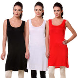 TeeMoods Womens Chemise Full Slip- Pack of Three-Black, White and Red