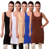 TeeMoods Womens Chemise Full Slip- Pack of Five-Black, White, Skin, Blue n Brown