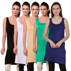 TeeMoods Womens Chemise Full Slip- Pack of Five-Black, White, Skin, Green n Navy