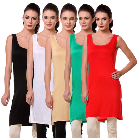 Womens Chemise Full Slip- Pack of Five-Black, White, Skin, Green n Red