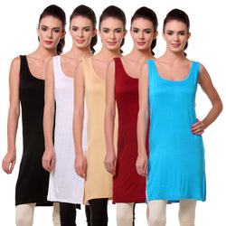 TeeMoods Womens Chemise Full Slip- Pack of Five-Black, White, Skin, Blue n Maroon