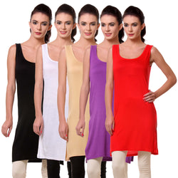 Womens Chemise Full Slip- Pack of Five-Black, White, Skin, Purple n Red