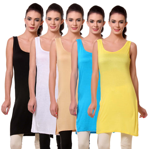 Teemoods Womens Chemise Full Slip- Pack of Five-Black, White, Skin, Blue n Yellow