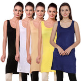 TeeMoods Womens Chemise Full Slip- Pack of Five-Black, White, Skin, Yellow n Navy