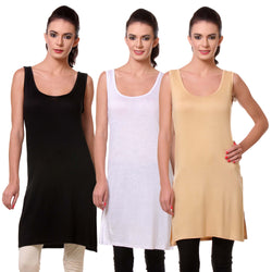 TeeMoods Womens Chemise Full Slip- Pack of Three-Black, White and Skin