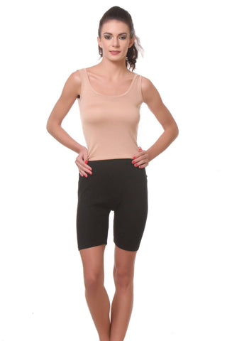 TeeMoods Womens Cycling Shorts -Black-Full Front View