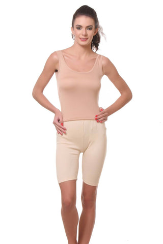 TeeMoods Womens Cycling Shorts -Beige-Full Front View