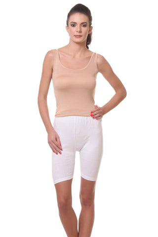 TeeMoods Womens Cycling Shorts -White-Full View